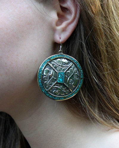 Earrings Default Rather Large Tibetan Turquoise earrings je101