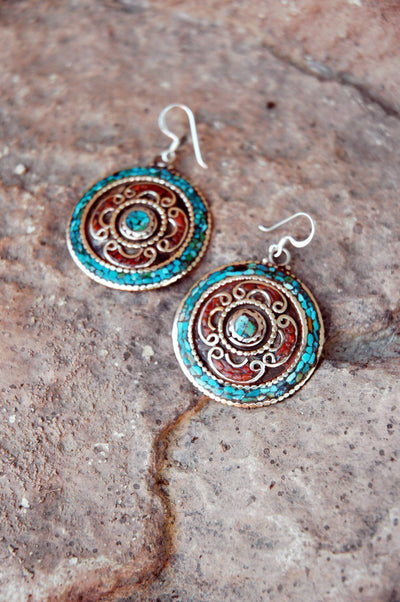 Earrings Default Round Coral and Turquoise Earrings je141