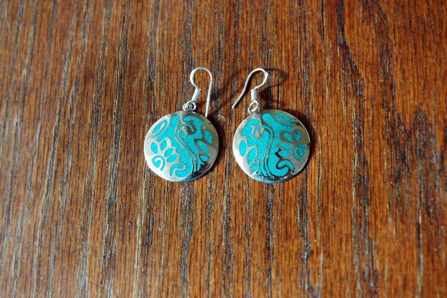 Earrings Default Silver and Turquoise Tibetan Vines Earrings je134