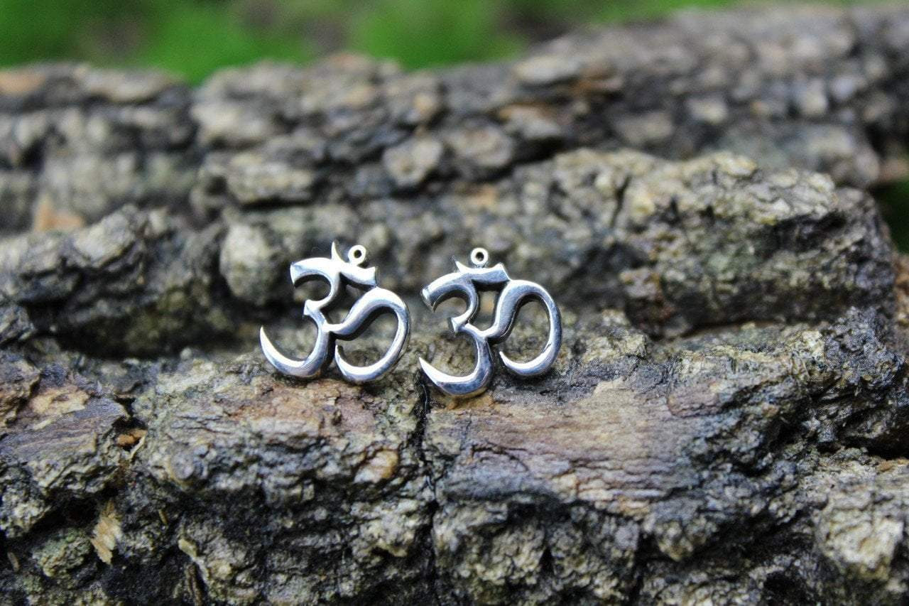 Earrings Default Silver Om Post Earrings jE405