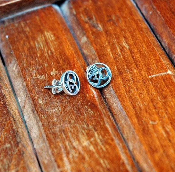 Tiger TIger Earrings Default Small Circle Om Sterling Silver Earrings