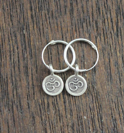 Earrings Default Solid Silver Hoop Om Earrings je069