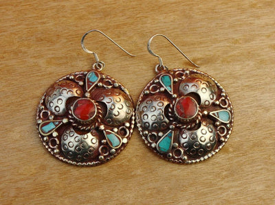 Earrings Default Tibetan Coral Center Round Earrings je149