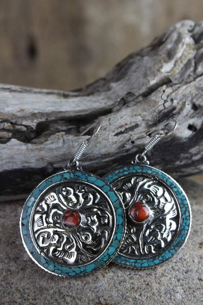 Earrings Default Tibetan Hand-Carved Silver and Turquoise Earrings je127