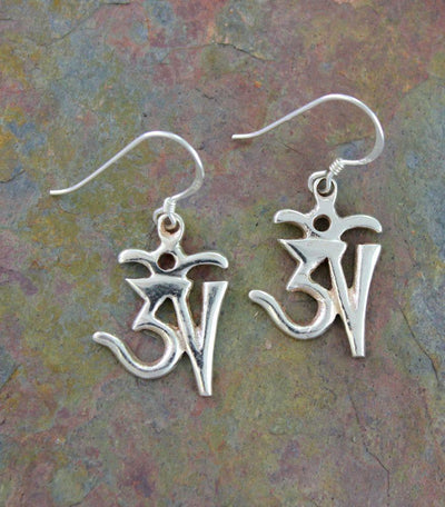 Earrings Default Tibetan Om Earrings Silver je009