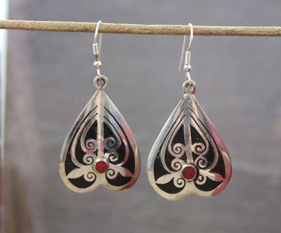 Earrings Default Tibetan Onyx Inlay Earrings je110