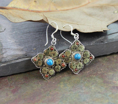 Earrings Default Tibetan Silver and Turquoise Earrings je105