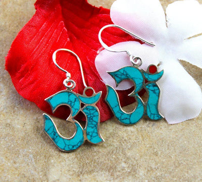 Earrings Default Tibetan Silver Turquoise Om Earrings je074