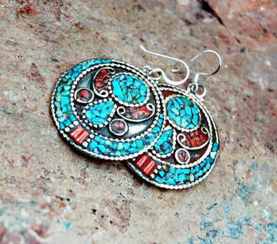 Earrings Default Traditional Inlaid Turquoise and Coral Earrings je148