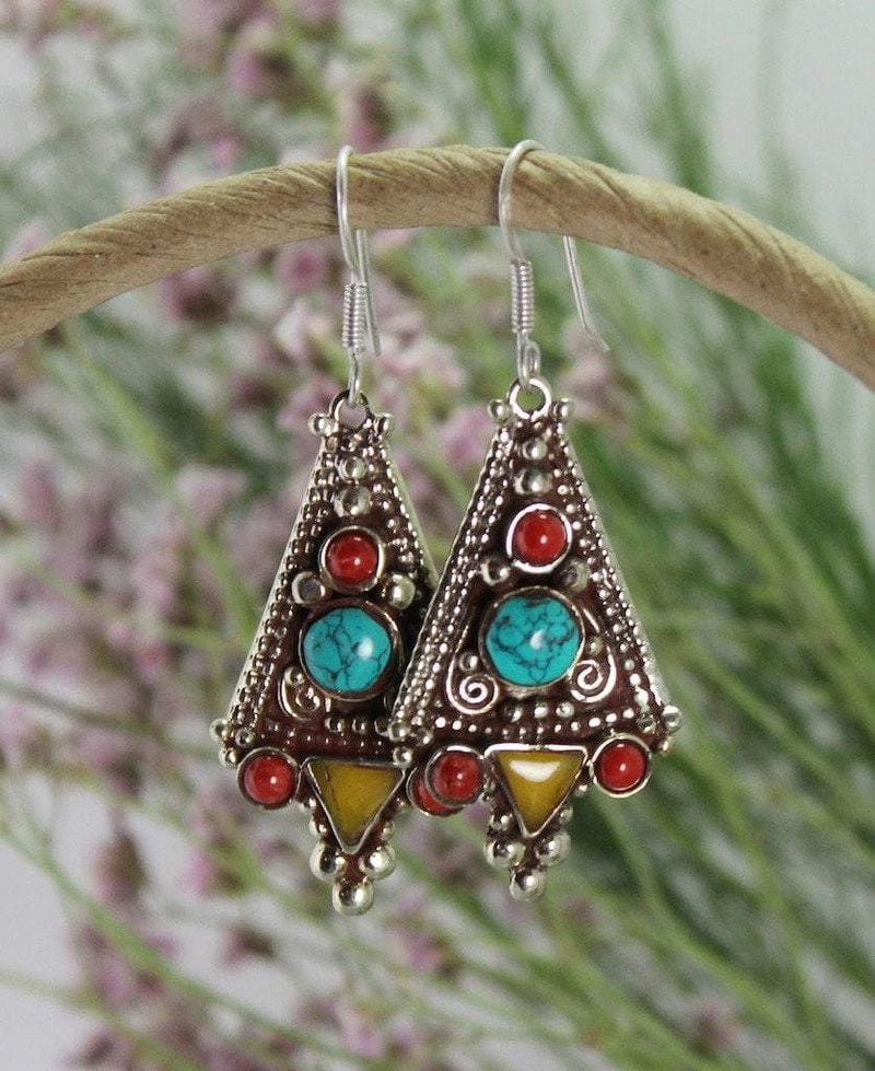 Earrings Default Traditional Large Tibetan Amber Earrings je154