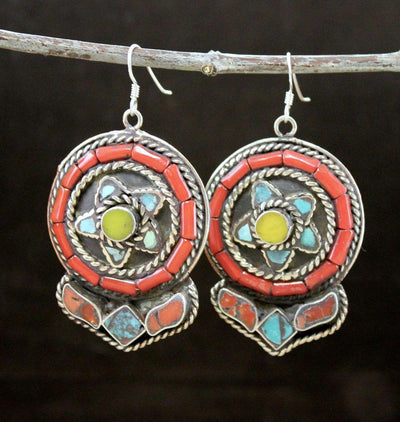 Earrings Default Traditional Tibetan Copal Turquoise Coral Earrings je088