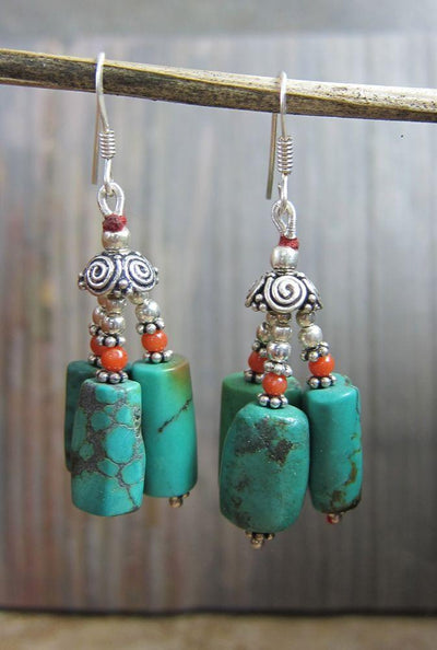 Earrings Default Traditional Tibetan Earrings Coral Turquoise je032-A