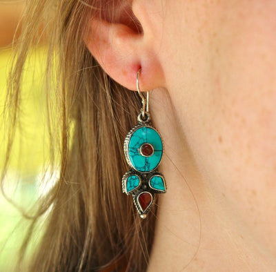 Earrings Default Turquoise and Coral Traditional Earrings je073