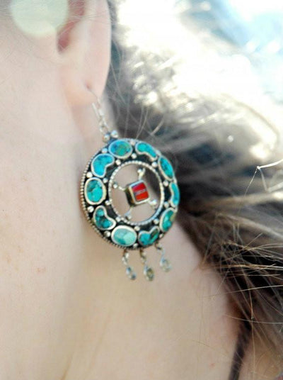 Earrings Default Turquoise and Silver Earrings je155