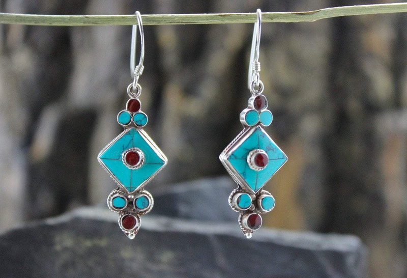 Earrings Default Turquoise and Silver Flower Drop Earrings je249