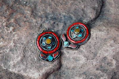 Earrings Default Turquoise Circle Earrings je142