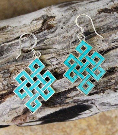 Earrings Default Turquoise Eternal Knot Earrings je035