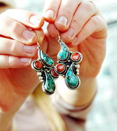 Earrings Default Turquoise Tear Drop Earrings je147