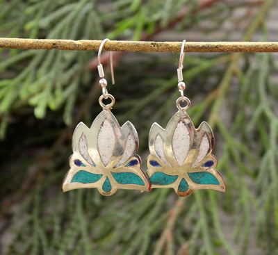 Earrings Default White Lotus Earring from Kathmandu je122