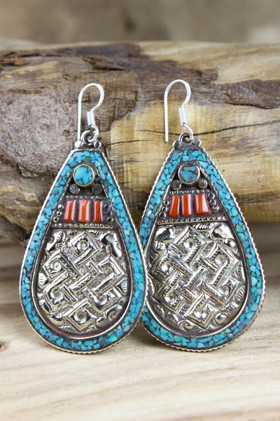 Earrings Endless Knot Traditional Tibetan Style Earrings JE470