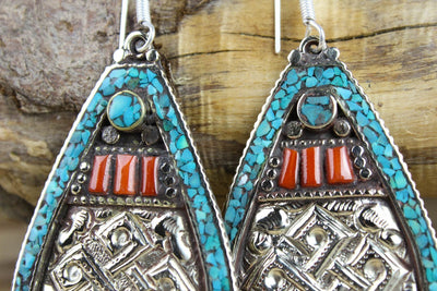 Dipendra Earrings Endless Knot Traditional Tibetan Style Earrings