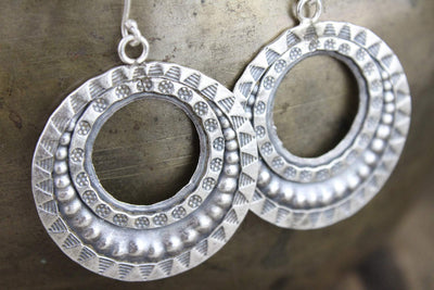 Earrings Hand Stamped Hill Tribe Silver Earrings JE469