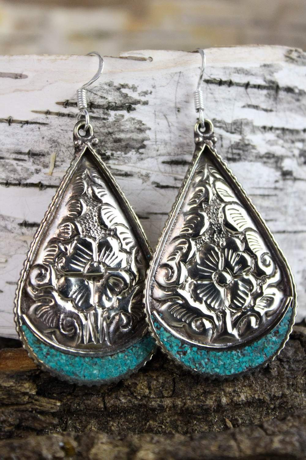 Earrings Silver Floral and Turquoise Teardrop Earrings JE364