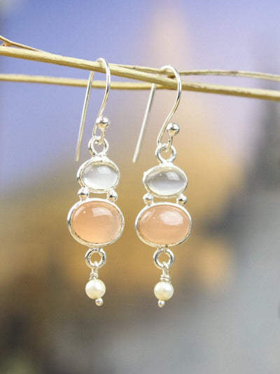 Earrings Spiritual Peach Moonstone Earrings JE474