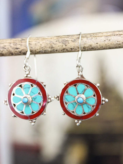 Earrings Sterling Silver Dharma Wheel Earrings JE510