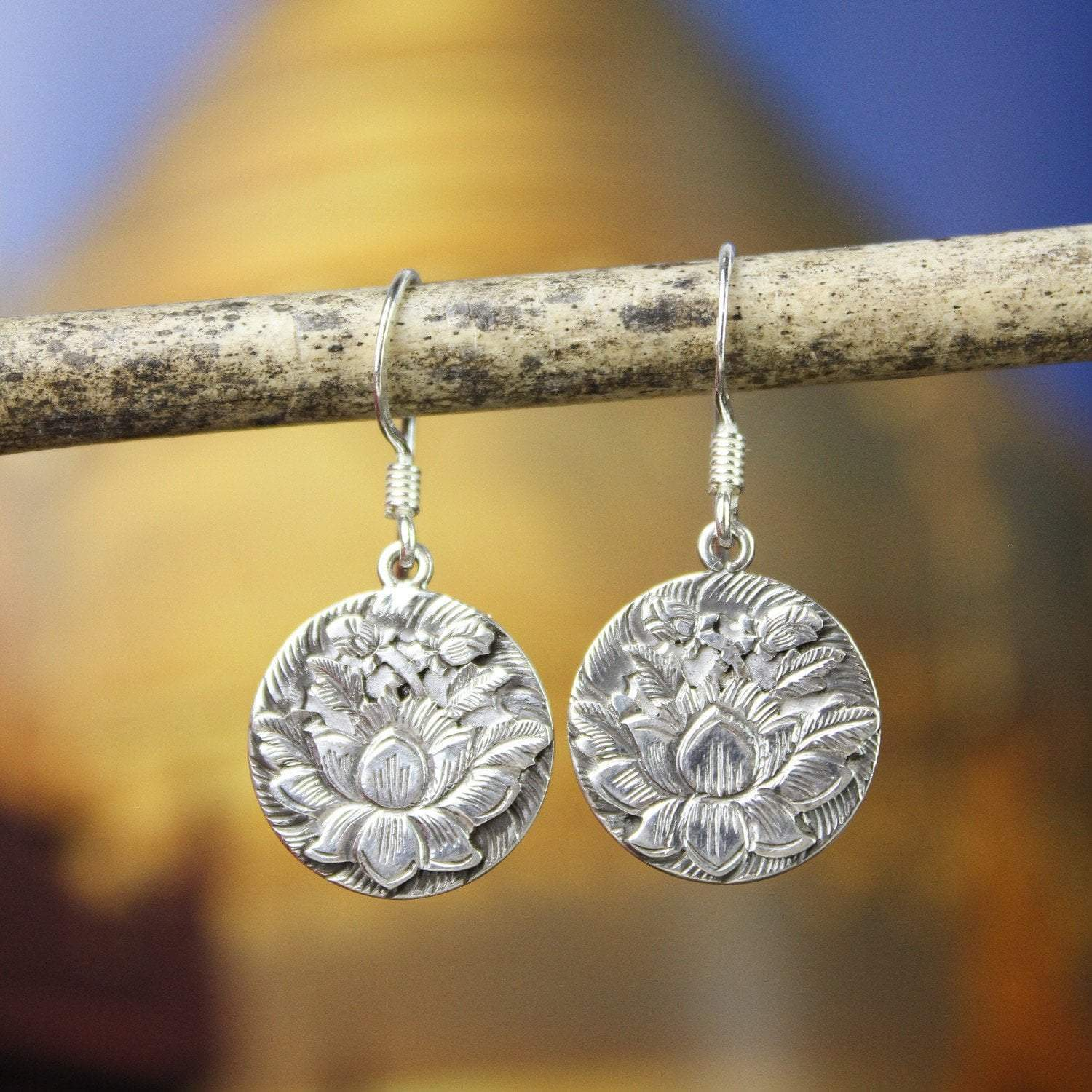 Earrings Sterling Silver Etched Lotus Earrings JE492