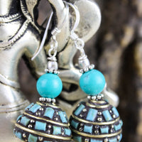 Earrings Traditional Turquoise and Silver Earrings JE465
