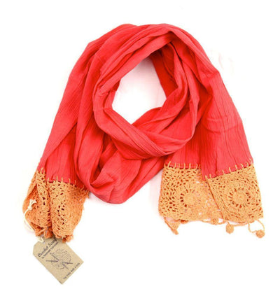 Fabrics,Gifts,Mother's Day,Scarves Default 100% Cotton Fair Trade Coral Crochet Scarf fb121