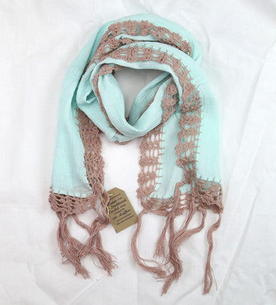 Fabrics,Gifts,New Items,Mother's Day,Scarves Default 100% Cotton Aqua Crochet Scarf fb120