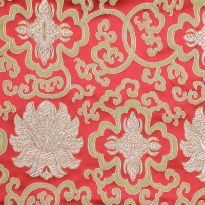 Fabrics Red Lotus Brocade Fabric by the Yard fy007