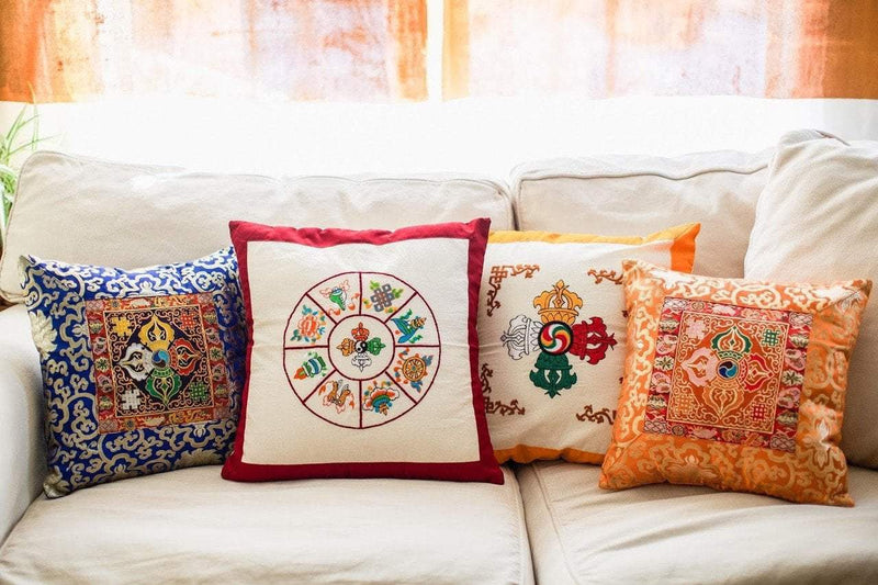 Fabrics,Tibetan Style,Home Default Gold Dorje hand Embroidered Pillow home003