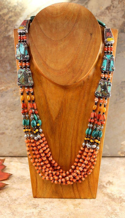 Gifts,Jewelry,New Items Default Tibetan Masterpiece Coral and Turquoise Necklace jn078