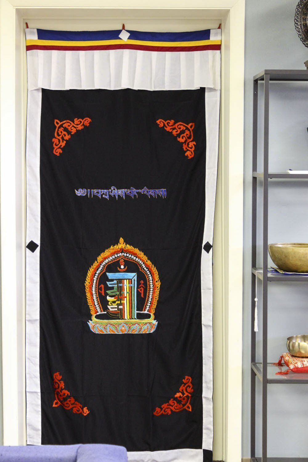 Home Default Dark Navy Blue Kalachakra Door Curtain FB490