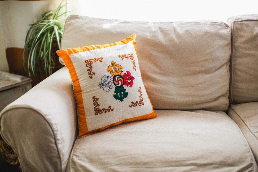 Home Default Double Dorje Embroidered Pillow home002