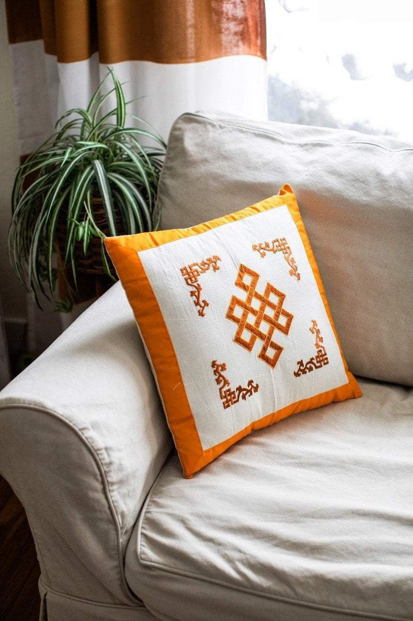 Home Default Yellow Eternal Knot Hand Embroidered Pillow home005