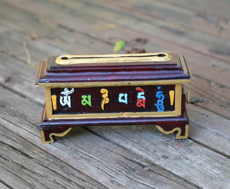 Incense Default Om Mani Carved Painted  Wooden Incense  Burner Box IZ025