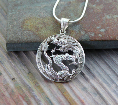 Jewelry Default Hand Carved Silver Dragon Pendant jp055