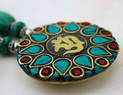 Jewelry Default Pressed Turquoise Traditional Tibetan Necklace jn048