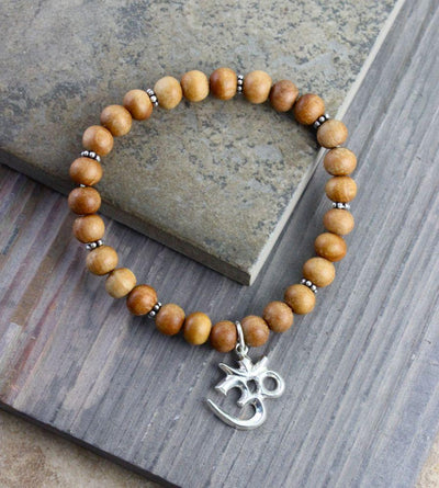 Jewelry Default Sandalwood Om Stretchy Wrist Mala wm137
