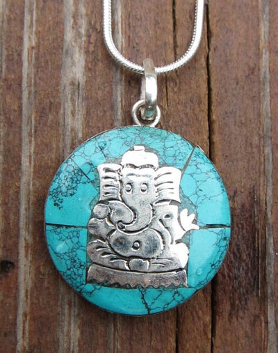 Jewelry Default Silver and Turquoise Ganesh Pendant jp153