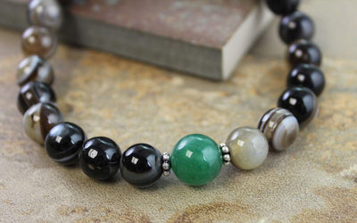 Jewelry Default True Agate With Jade Wrist Mala wm140