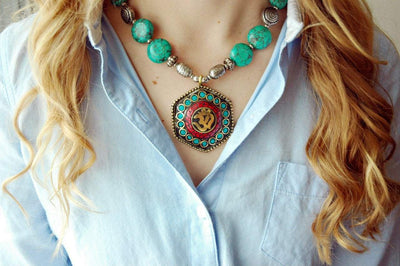 Jewelry Default Turquoise Hexagon Pendant Necklace jn141