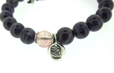Jewelry,Gifts,Om,Tibetan Style Default Adjustable Amethyst Wrist Mala with Rose Quartz and Om wm073