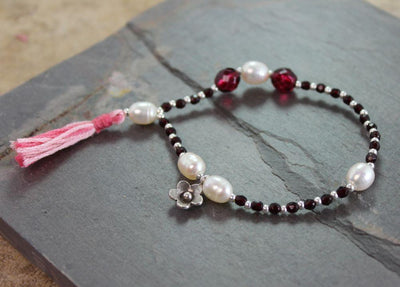 Jewelry,Mala Beads,Gifts,Tibetan Style Default Garnet and Pearl Flower Wrist Mala wmchristy7
