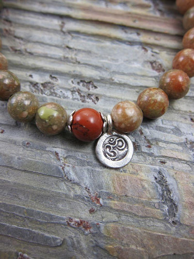 Jewelry,Mala of the Day,Tibetan Style Default Jasper and silver OM Wrist Mala wm068