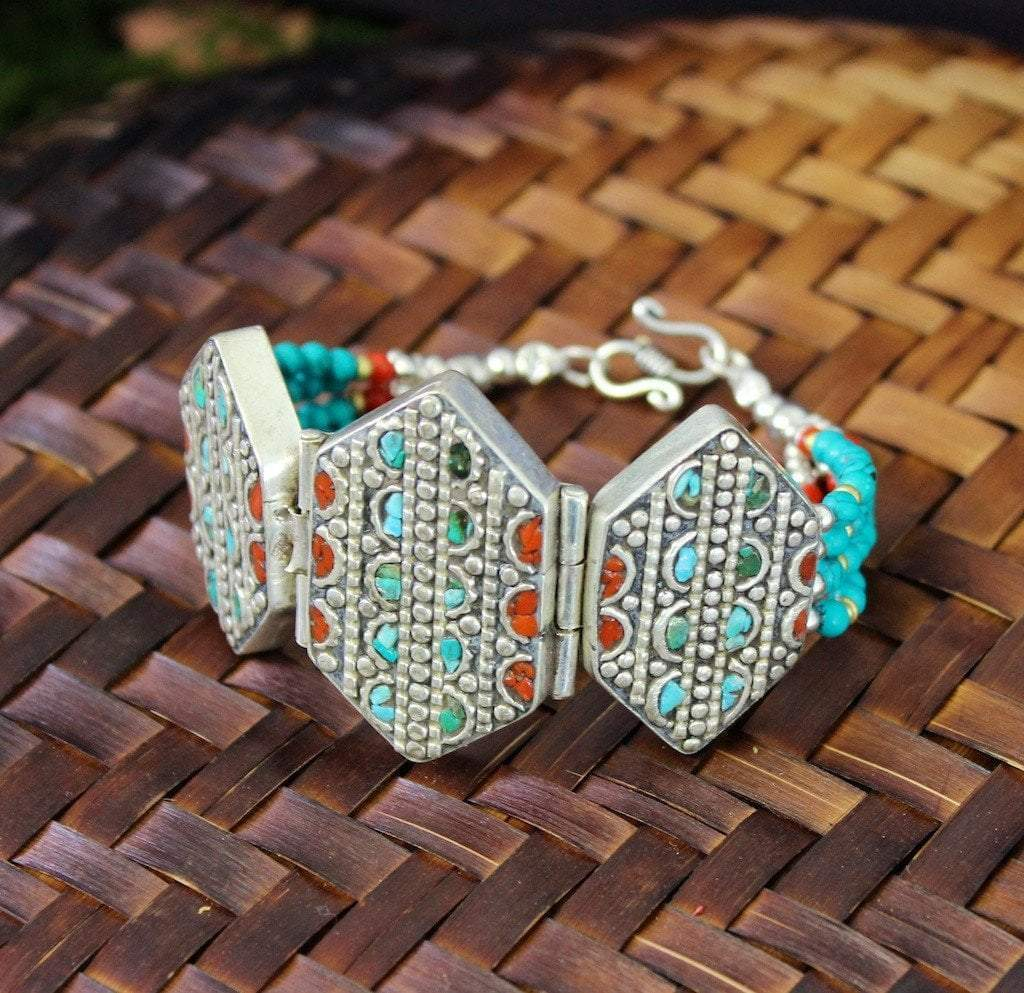 Traditional Tibetan Bracelet Inlaid With Lapis And Turquoise